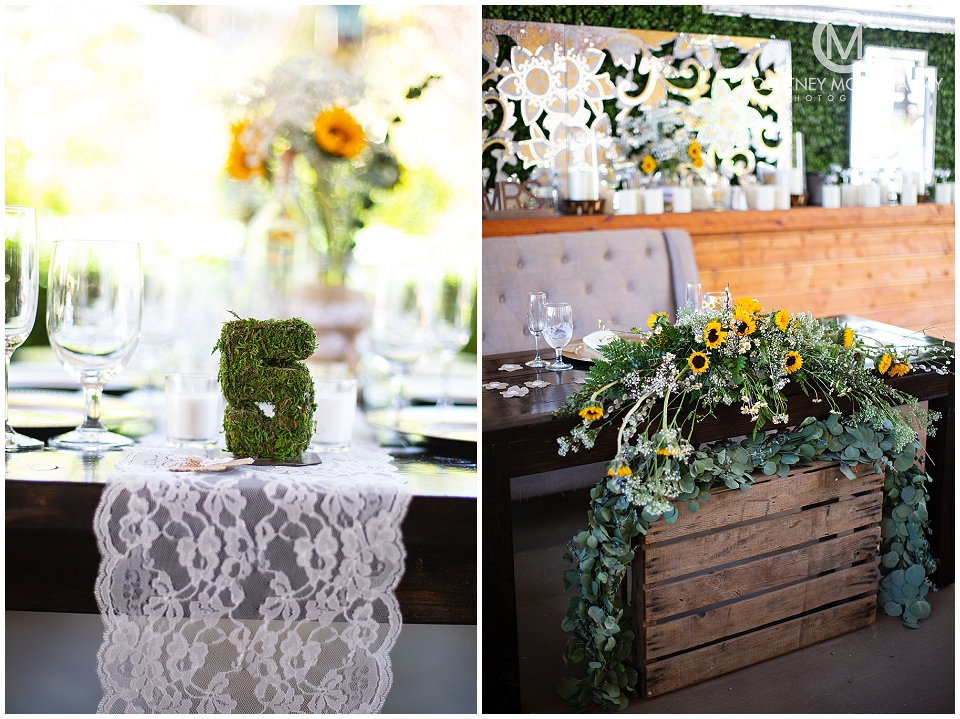 Yellow and green wedding reception decor Forever and Always Farm Wedding