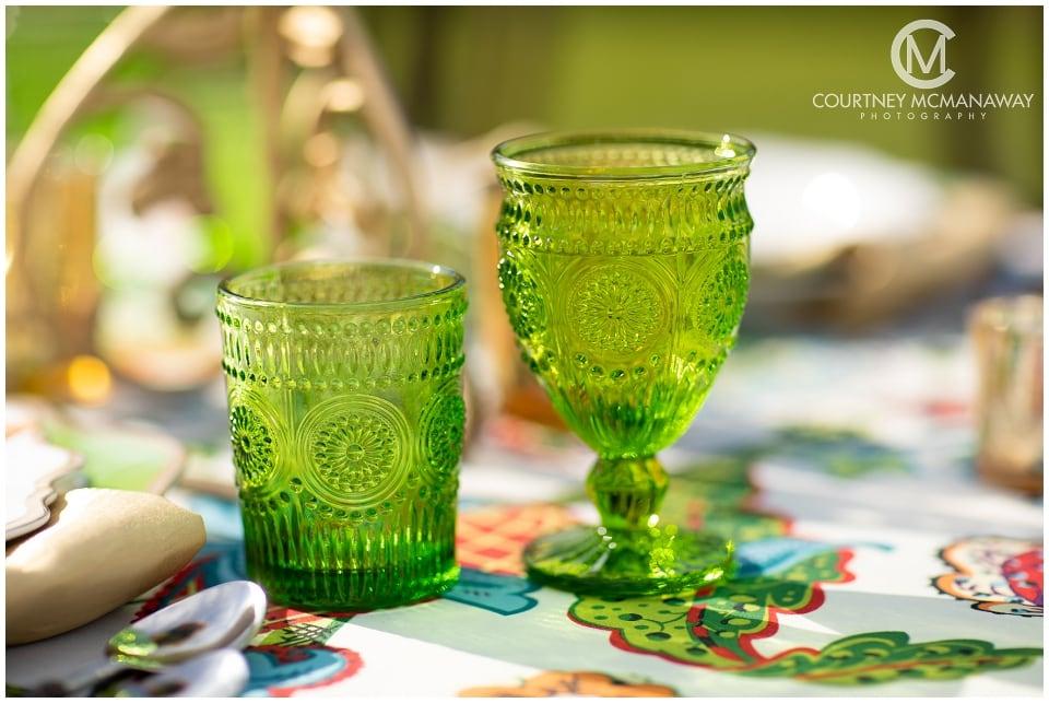 wedding-tabletop-vintage-green-glassware